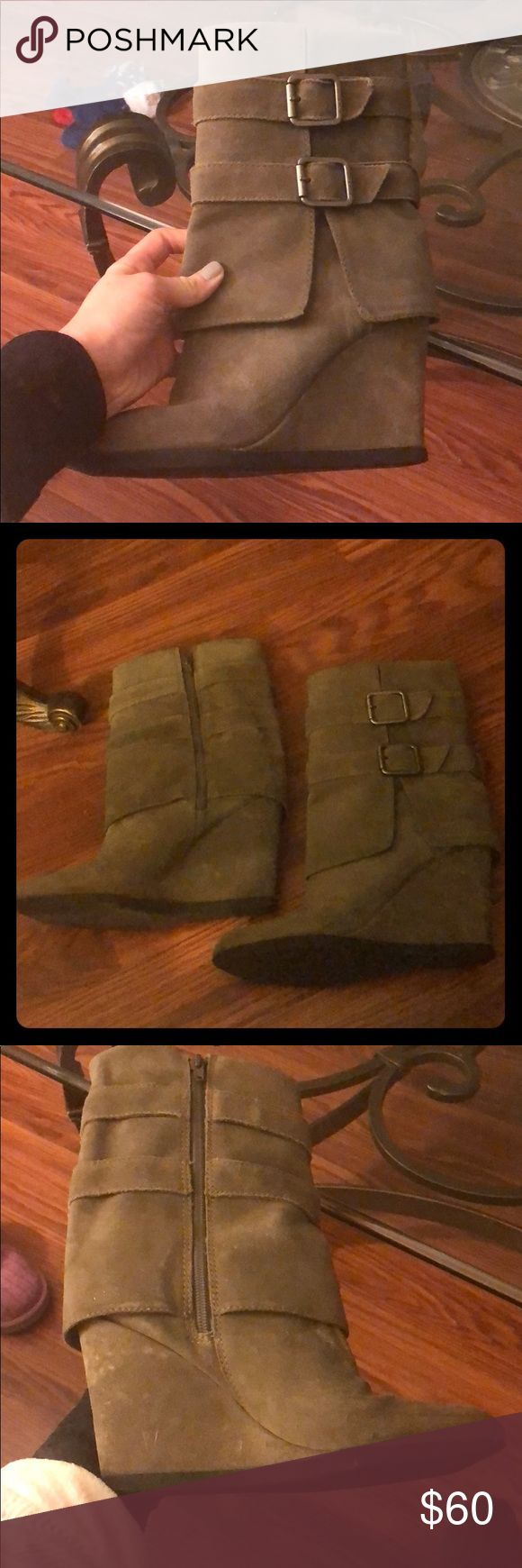 Juicy Couture Gray Suede Wedge Boots Gently worn, only selling because I have too many boots! Juicy Couture Shoes Heeled Boots