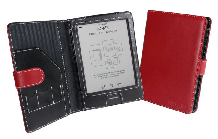 Red Leather Cover Case for Kobo eReader Touch Edition