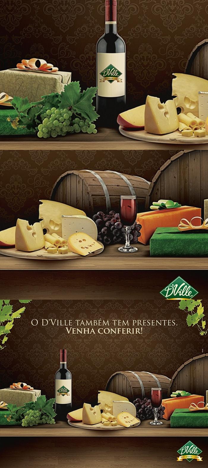 Montagem painel queijo e vinhos - D'Ville
