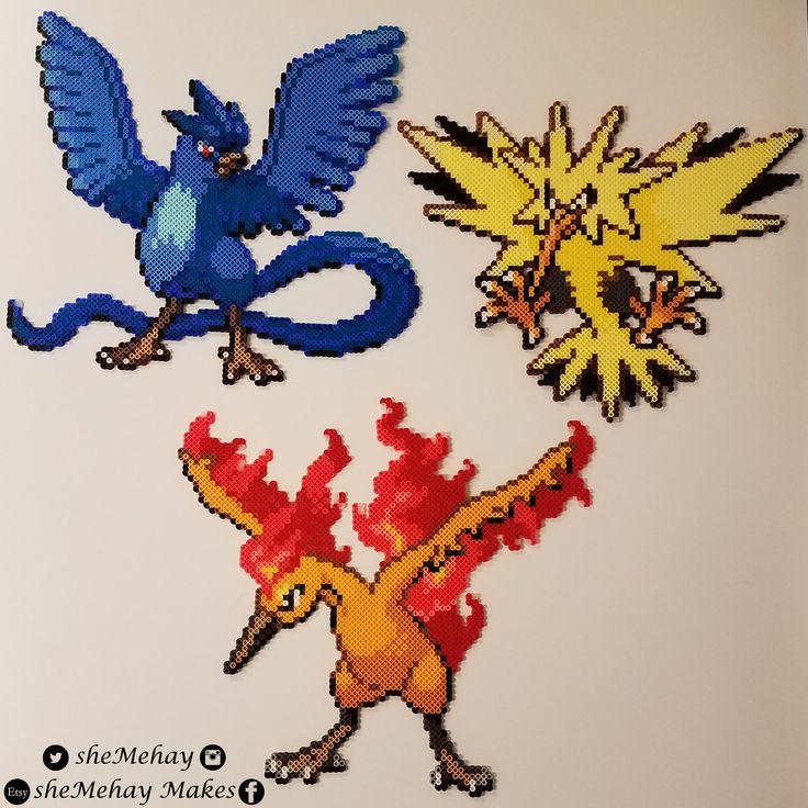 Pokemon Legendary Birds Articuno Zapdos Moltres (HGSS Perler Sprites)