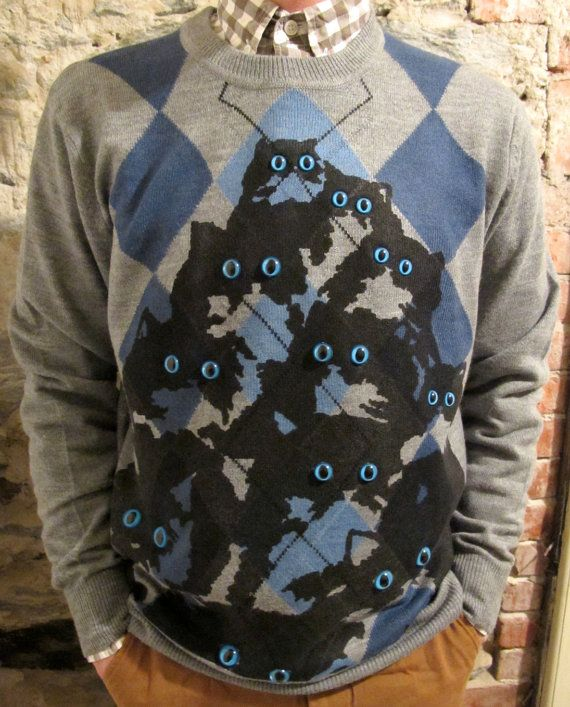 Someday I will purchase this lovely sweater and my mother will think I am ridiculous but I will wear it around campus. I will wear it every day I am able to while keeping good hygiene, and if anybody gives me a funny look, I will stare at them with wide eyes, until it looks like I am morphing into one of the cats.