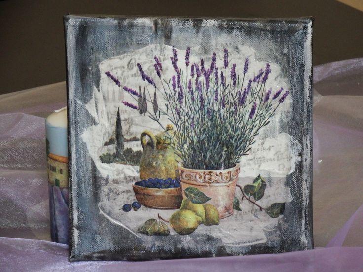 Leinwandbild Mixed Media Lavendel und die Zitronen von boxofmiracles auf Etsy