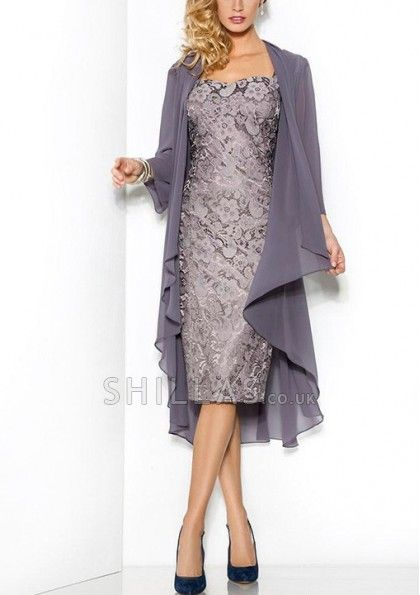 Sheath Square Neckline Knee-Length Lace Mother Of The Bride Dress with chiffon jacket - 1640559 - Mother of the Bride Dresses