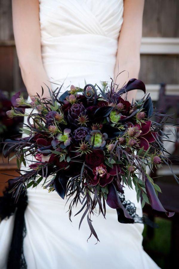 dark bridal bouquet, Modern bridal hand tied cascade crescent. black flowers dark red purple  www.sophisticatedfloral.com