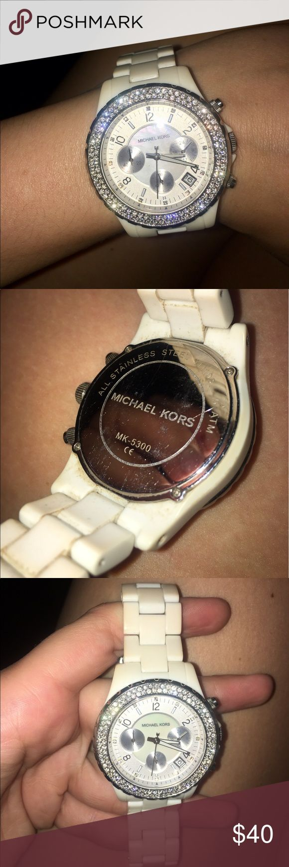Off white michael kors watch This watch band seems to look ivory now it needs a good cleaning! No missing stones! Stones still shine nice. Battery is dead. No box. No additional links. MICHAEL Michael Kors Accessories Watches