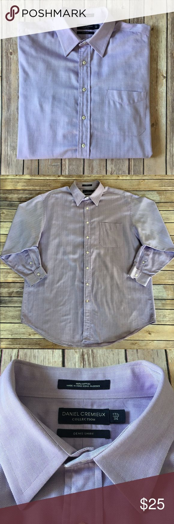 Daniel Cremieux - Long Sleeved Dress Shirt Daniel Cremieux - (Dennis Shirt), Long Sleeved Button Down, Light Purple Dress Shirt (size 17.5x34). In exceptional preowned condition. Please be sure to check out all of my other men's items to bundle and save. Same day or next business day shipping is guaranteed. Reasonable offers will be considered. Daniel Cremieux Shirts Dress Shirts