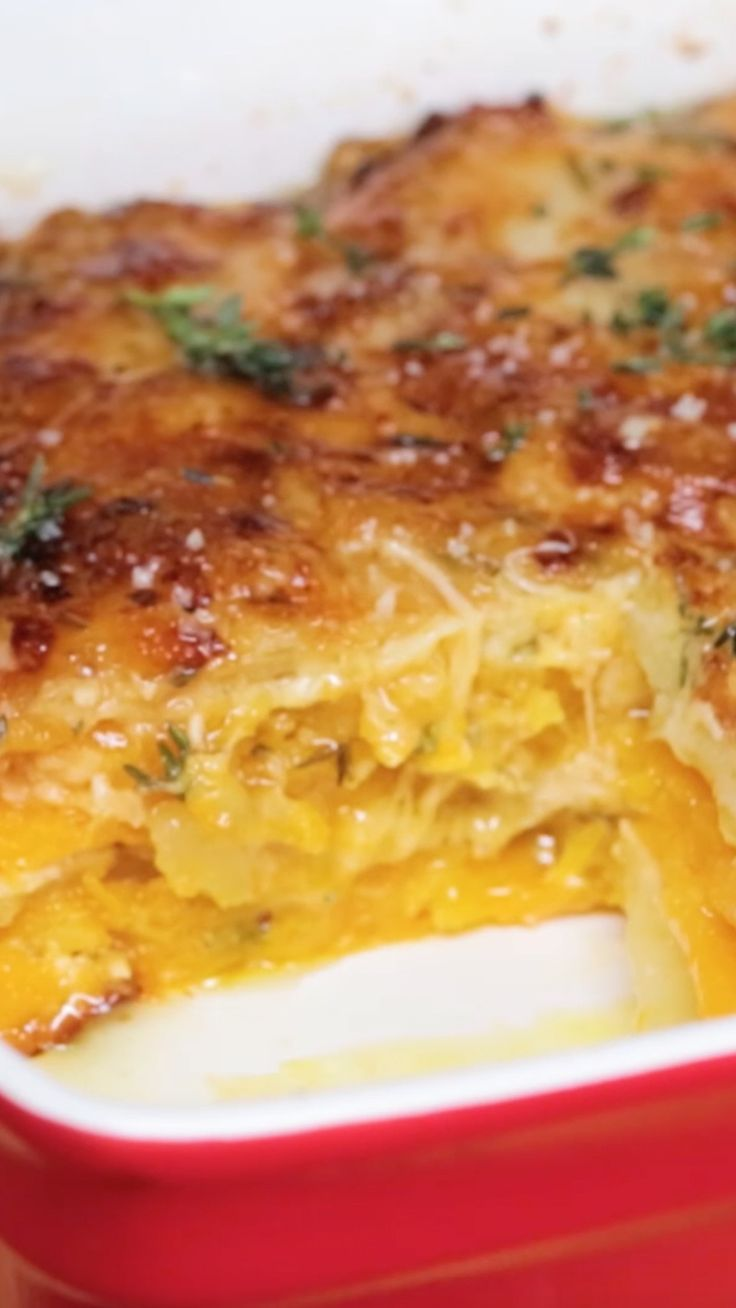 Layered with cheesy goodness, butternut squash and potato, this gratin is the ultimate side dish.