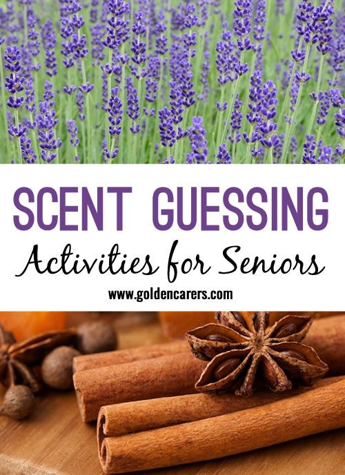 Sensory stimulation with familiar scents. A fun activity for seniors and the elderly living with dementia.