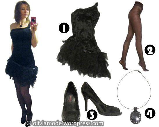 Oliviamode robe asymétrique velours noir Kaufhof - collants dim body touch - Escarpins vernis à bout ouvert Graceland chez Deichmann - collier baroque cristal noir en cabochon d'arabesques Cora