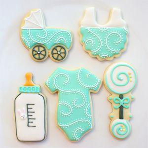 Galletitas para el baby shower de tu bebe Más ideas aquí: http://www.stylesyoulove.es/guia/ropa-de-premama-guia-embarazada-con-estilo