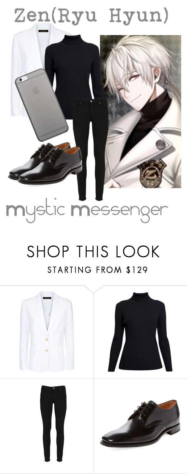 """Zen(Ryu Hyun) from Mystic Messenger"" by kayxiv1256 ❤ liked on Polyvore featuring Jaeger, Rumour London, Paige Denim, Loake and Native Union"