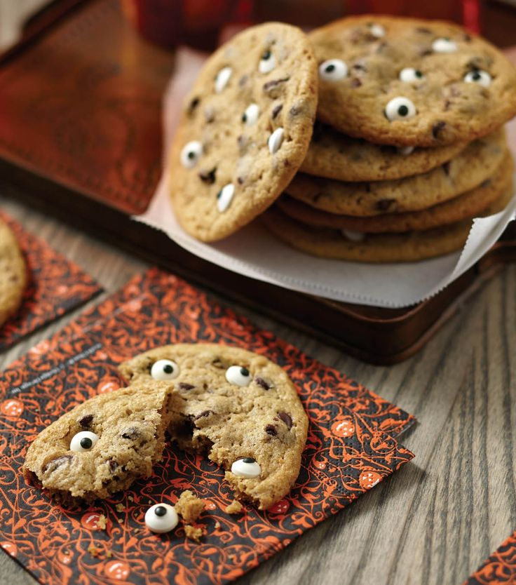 Eye Ball Cookies from @joannstores. Add some Halloween fun to ordinary chocolate chip cookies by adding mini candy eyeballs!