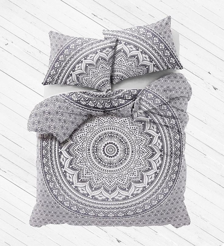 Gray Ombre Mandala Bedding Set Large Duvet Cover with Pillows - Amrita-Jaipur Handloom