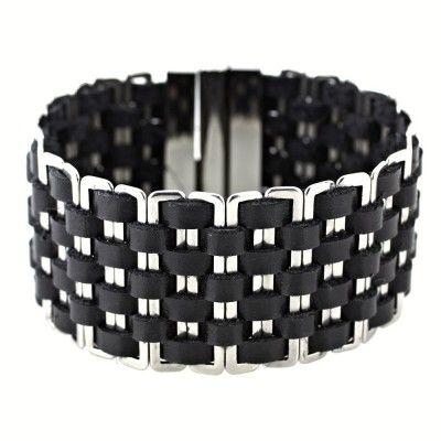 Ocelový náramek - Ocel / Černá kůže / black leather (6216). Odkaz na WEBSHOP: http://www.ocelovesperky4u.cz/ocelove-naramky/sbr-6216-cerna-kuze-pro-zeny