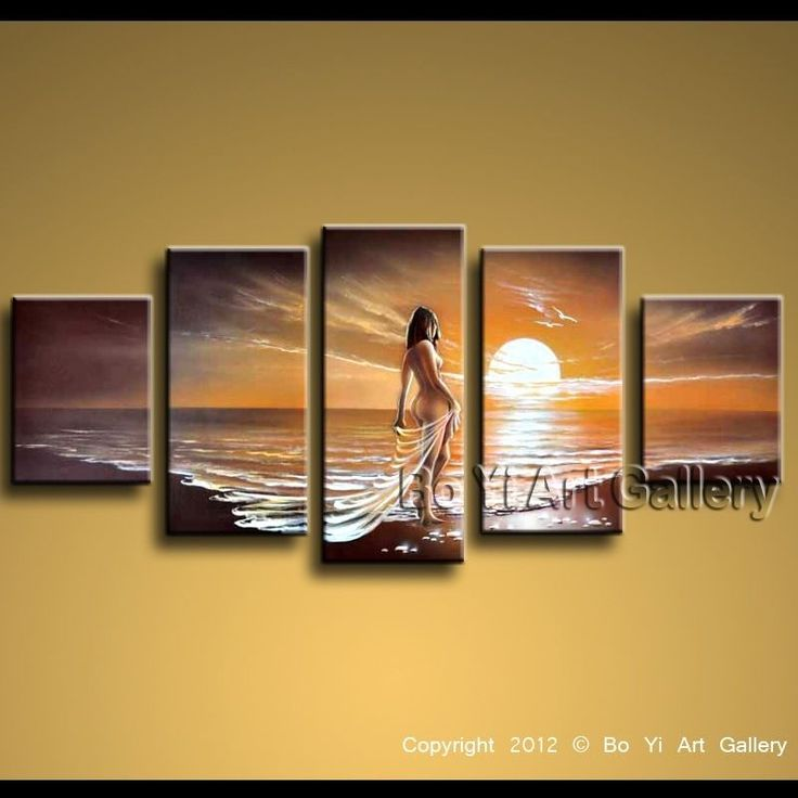 Modern Contemporary Oil Painting Huge Wall Art Seascape Beach Nude Girl BoYi