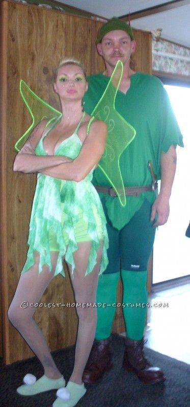 Coolest Peter Pan and Tinker Bell Homemade Couple Costume… Enter Coolest Halloween Costume Contest at http://ideas.coolest-homemade-costumes.com/submit/