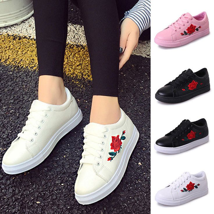 $10.92 - 2018 Women's Fashion Leather Rose Flower Casual Lace Up Sneakers  Trainer Shoes #ebay