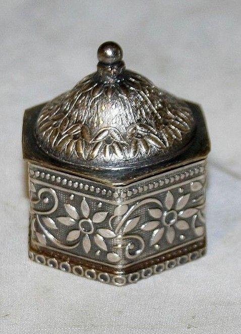 Antique Austrian Snuff Tobacco Box Sterling Silver.  Height 2in. diameter 1.75in