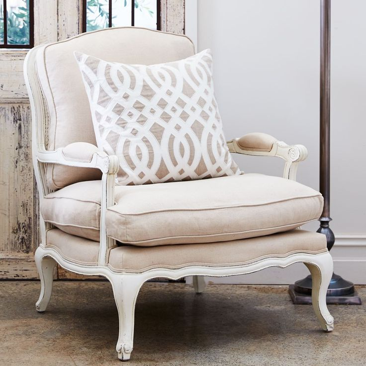 Paris French Arm Chair Antique White Cheap Modern