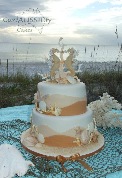 Sea Horse beach theme wedding cake. - by curiAUSSIEtycakes @ CakesDecor.com - cake decorating website