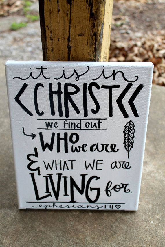 It is In Christ // Ephesians 1:11 // black and white // 8x10 stretched canvas // READY TO SHIP by colorsoncanvas, $25.00