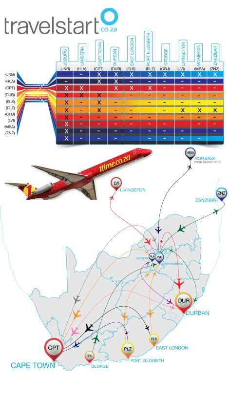 1Time Airlines route-map by travelstart.co.za - where can you fly?