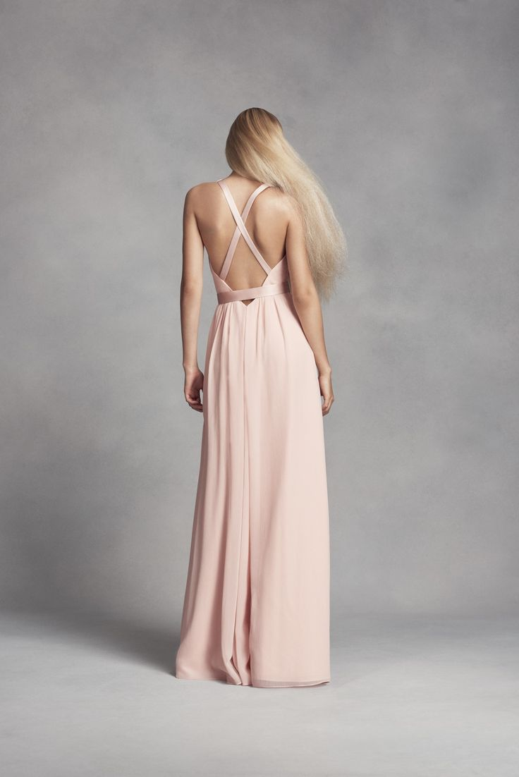 9 best images about delvinas bridesmaids on pinterest davids long chiffon dress with low crisscross back white by vera wang bridesmaid dress available at davids ombrellifo Images