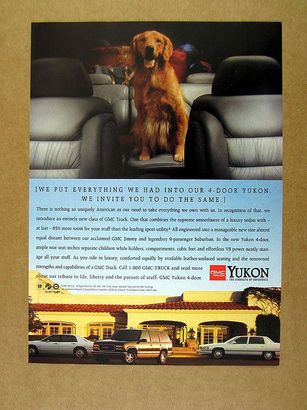 1995 cute Golden Retriever photo GMC Yukon Truck vintage print Ad in Collectibles, Animals, Dogs | eBay