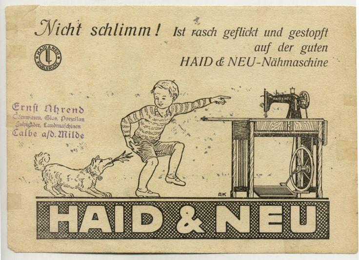 C138 Haid NEU Nähmaschinen Werbung CA 1935 DIN A 5 Blatt | eBay