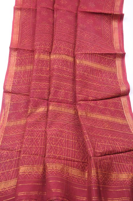 Madhya Pradesh Maheshwari print red orange dabu
