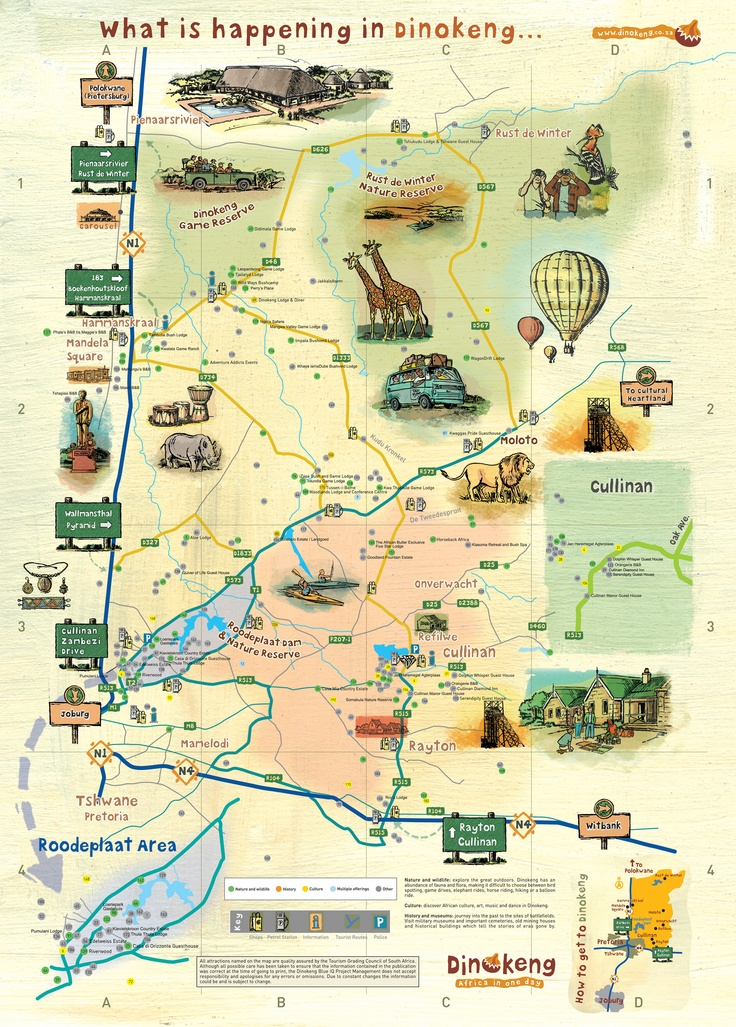 The developing Dinokeng  Game Reserve (DGR) is situated in the North-East quadrant of the Gauteng Province of South Africa. The greater Dinokeng area covers approximately 281 000ha of rural land incorporating Roodeplaat, Cullinan, Rayton and open bushveld north of the Moloto Road (R573).