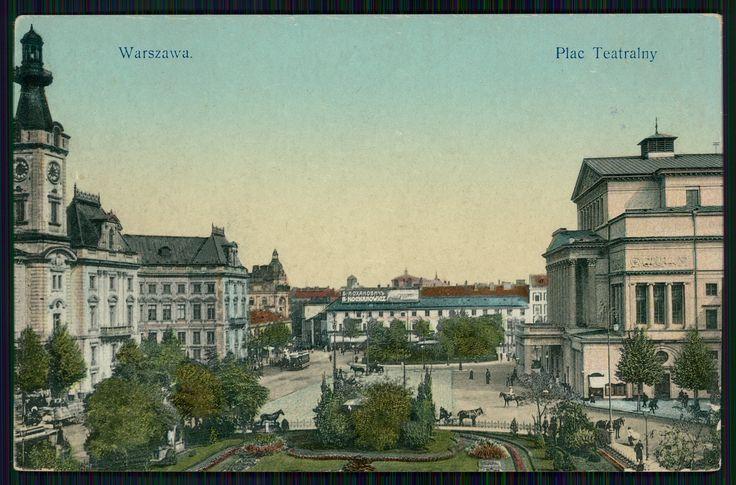 Pocztówka: Warszawa, Plac Teatralny, Wydawnictwo K. Wojutyńskiego, 1912