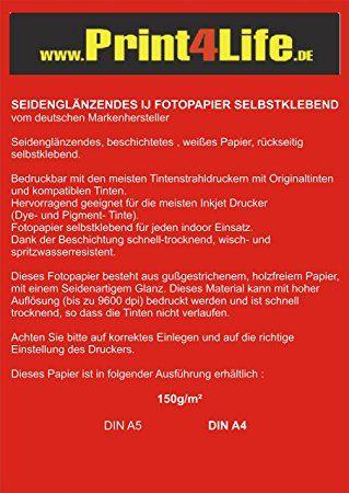 100 Blatt DIN A4 Fotopapier 150g /m² seidenglänzend vollflächig selbstklebend bis 9600 dpi wasserfest lichtecht
