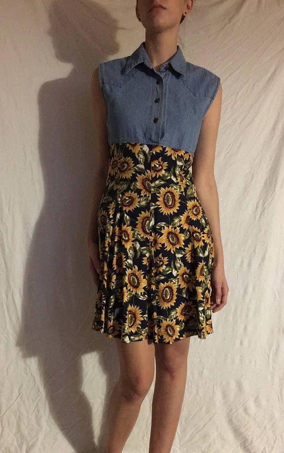 90s Denim Sunflower Dress