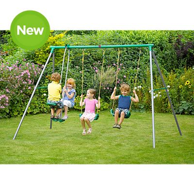 80plum Metal Swing Set With Double Swing And Glider Backyard Ideas