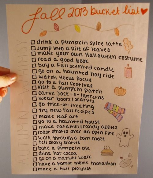 Fall Bucket List. Pretty sweet!