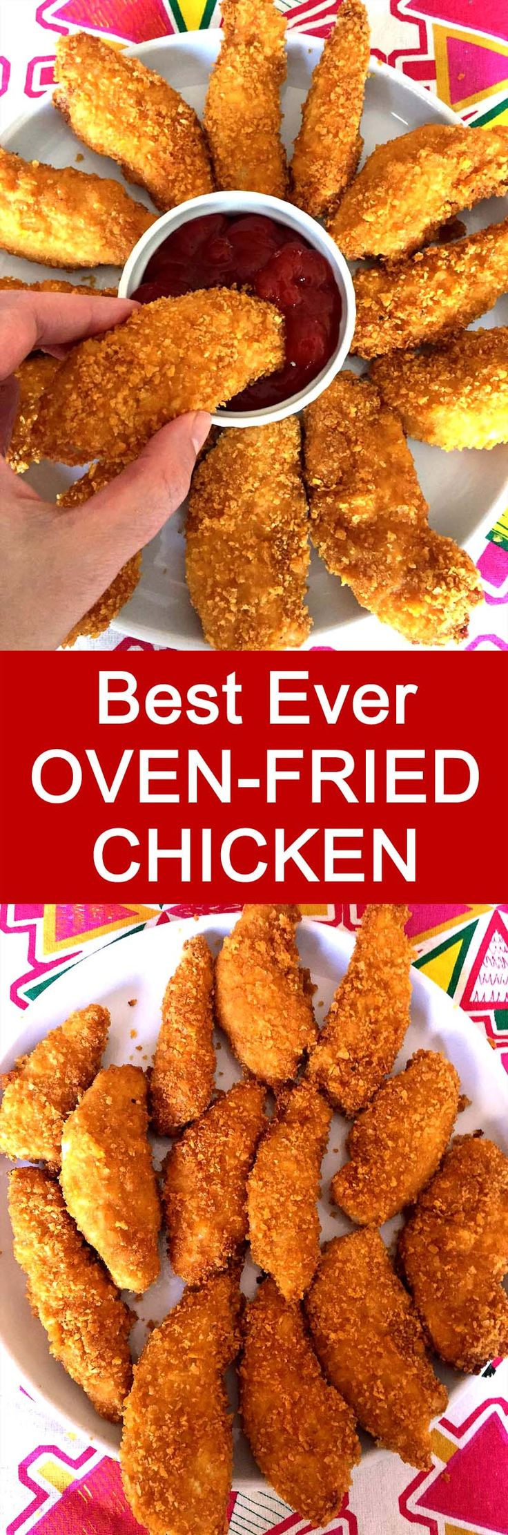 Tastes like real fried chicken, can't believe it's baked! So crispy! This is my favorite oven fried chicken recipe!