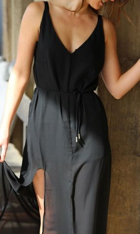 Shop this stunning Maxi online http://www.sebachi.com/collections/dresses/products/black-maxi-dress-with-waist-tie-band