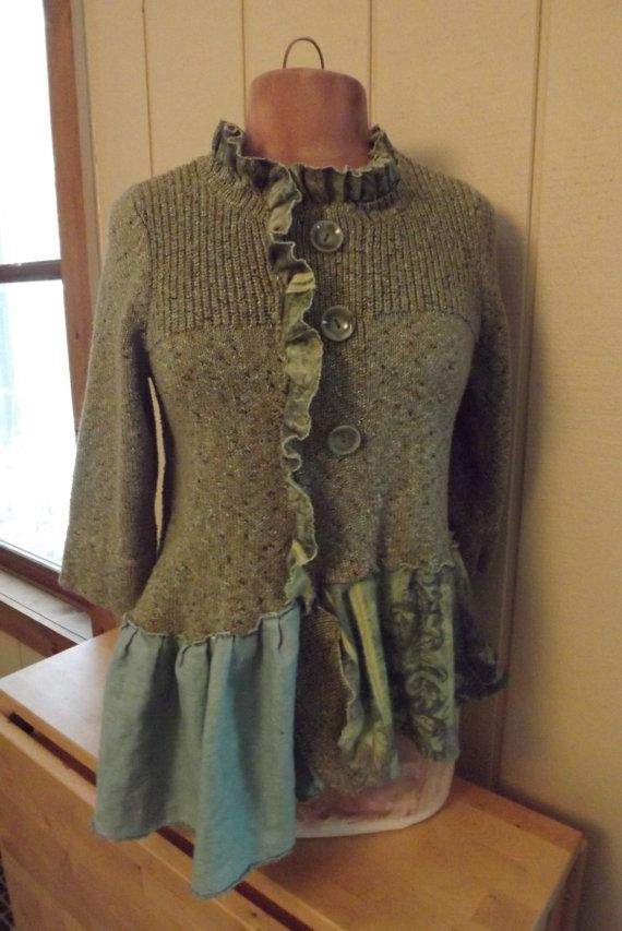 Lagenlook Art to Wear Upcycled Sweater Tunic by bluemermaiddesigns, $72.00