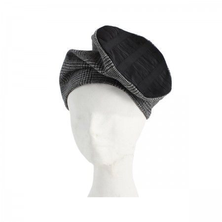 Lacrom Store    flapper, hat, wool  Wool hat with tartan pattern and a circular twisted element in black grosgrain.