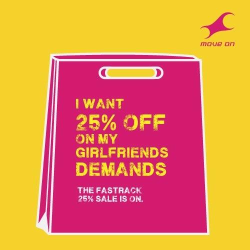 I want 25% off on my girlfriend's demands #25reasonstoshop Flat 25% OFF on Bags, Belts, Wallets & Sunglasses!