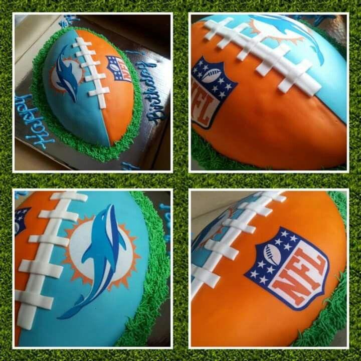 Miami Dolphins Football Cake #cakesbychristal #miamidolphinsfootballcake