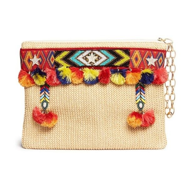 Venna 'Lovely' embroidered tribal beadwork pompom raffia clutch (€465) found on Polyvore featuring women's fashion, bags, handbags, clutches, neutral, woven handbags, tribal purse, reversible purse, summer handbags and tribal print purse