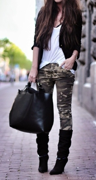 tall black suede heeled boots, camo pants, loose white shirt tucked in,