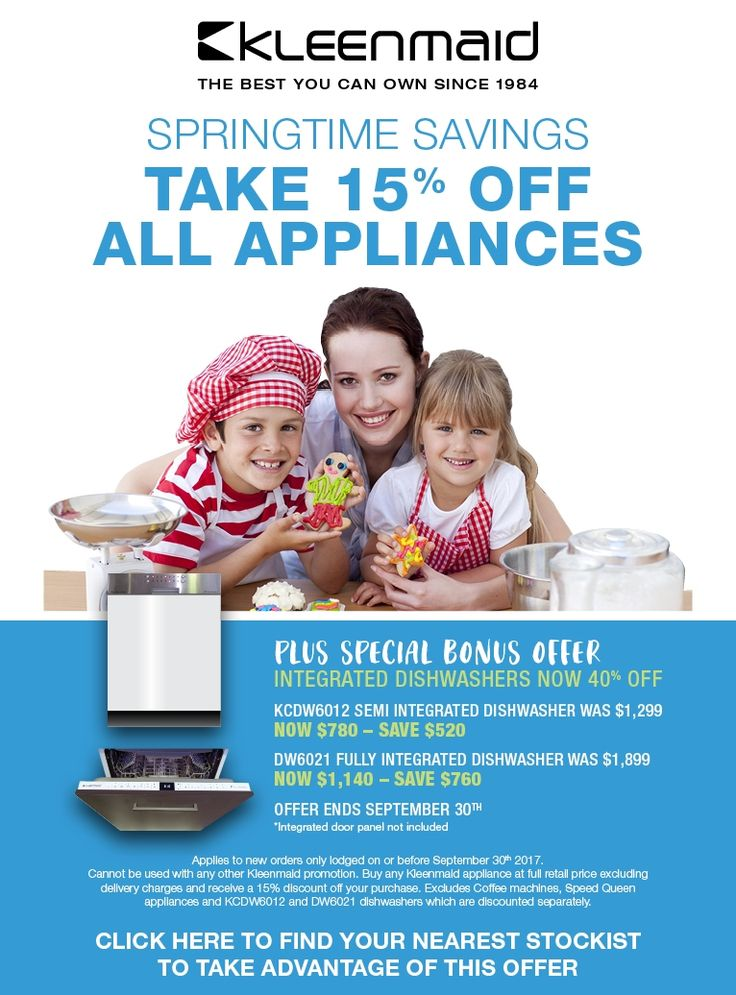 Kleenmaid September 2017 - Promotion on our Appliances with a Bonus Offer on our Semi & Fully Integrated Dishwashers