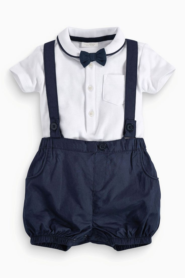 Buy Bodysuit, Shorts With Braces And Bow Tie Set (0-18mths) from the Next UK online shop