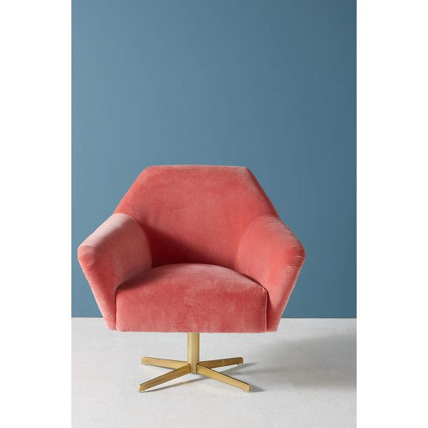 Anthropologie Almere Swivel Chair ($630) ❤ liked on Polyvore featuring home, furniture, chairs, medium pink, velvet chair, pink velvet chair, pink chair, anthropologie chairs and velvet swivel chair