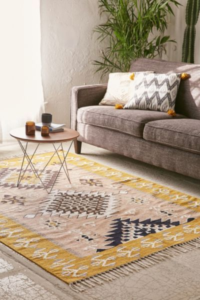 liking the colors on this rug. Magical Thinking Meema Kilim Woven Rug - Urban Outfitters