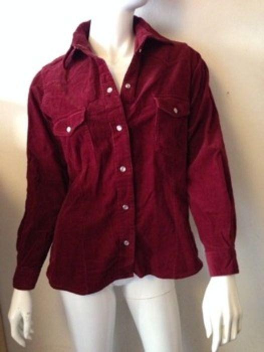 Cordjacke Kordjacke Cord Hemd Bluse Damen S 38 bordeaux rot Baumwolle Hipster Hippie Goa Vintage