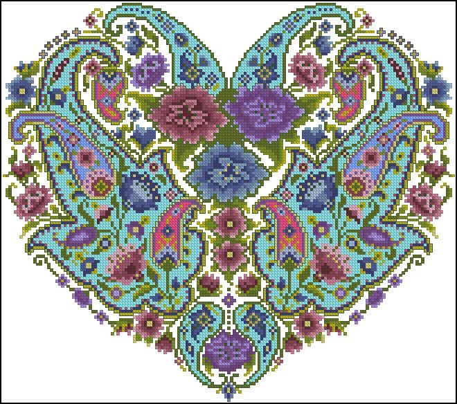 """Сачать схему вышивки """"Indian Pashmina Heart"""""""